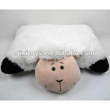 oreiller en peluche moelleux animal blanc en peluche