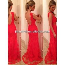 Sexy V-neck Red Applique sem mangas Andar de comprimento Lace Backless Mermaid Evening Dress