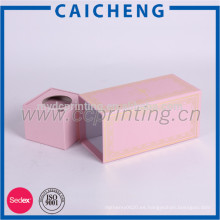 Caja de empaquetado de regalo de papel rosado personalizado