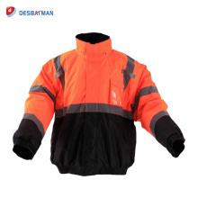 Veste de sécurité imperméable à l'eau de classe 3 économique haute visibilité fermeture à glissière avant de vêtements de travail chauds