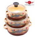 3PCS Glass Lid Enamel Kitchenware Pot