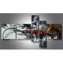 Pintura abstrata preto e branco do metal das artes da parede