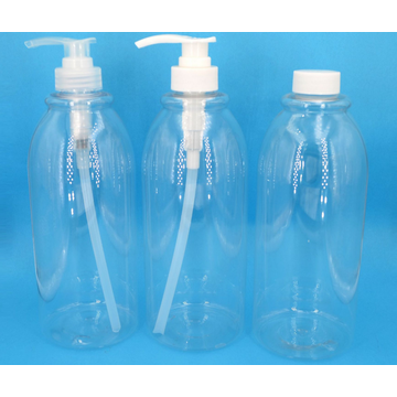 Прозрачная косметическая бутылка с лосьоном