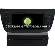Reprodutor de DVD do carro do sistema de Android para Fiat Doblo com GPS, Bluetooth, 3G, iPod, jogos, zona dupla, controle de volante