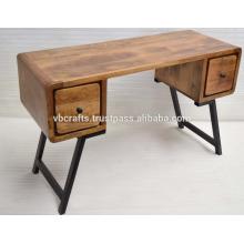 Art Deco Escritorio de madera maciza con la pierna del hierro labrado