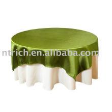 Nappe 100% polyester, Housse de table pour hôtel / banquet, superposition satinée