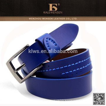 Custom genuine highest quality leather blue light leather belt