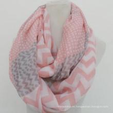 Whosale elegancia moda círculo suave impresión personalizada prink algodón gasa infinito chevron bufandas