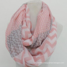 Whosale elegance fashion soft circle custom print prink cotton voile infinity chevron scarves