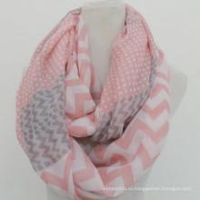Оптовый элегантность мода мягкий круг пользовательских печати розовое хлопок маркизета шеврон бесконечности шарфы