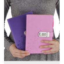 2017 Produits Business cahiers d'écriture bloc-notes PU bloc-notes avec serrure