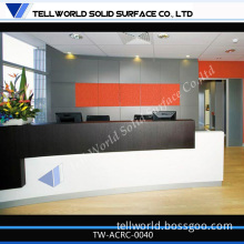 New Arrived Customized Acrylic Solid Surface Curved Reception Counter