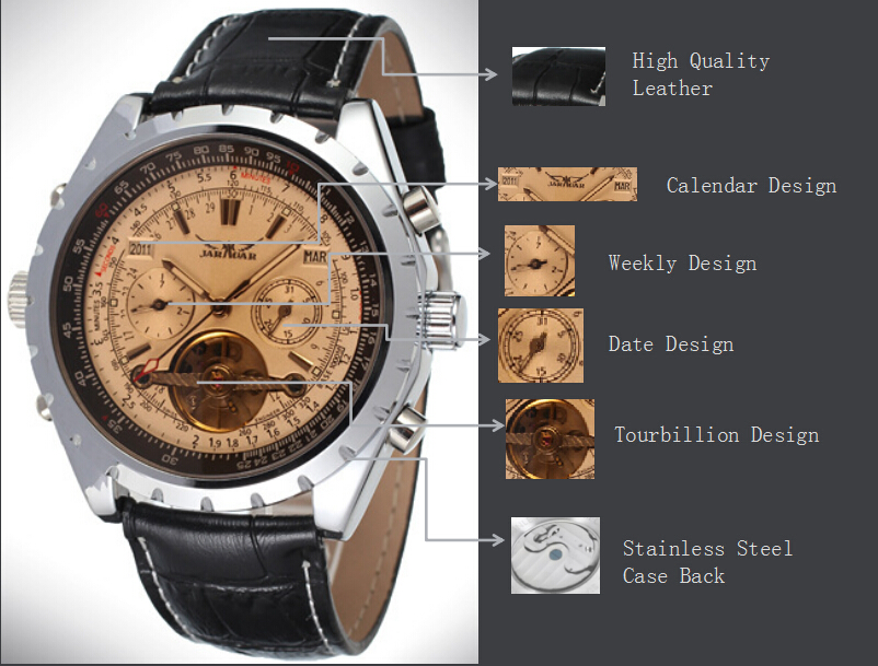 Hand Wind Mechanical Skeleton Mens Tourbillon Watch