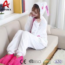 Lovely conejo coral fleece animal encapuchado onesie mujeres albornoz