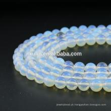 Top Grade Atacado 8mm Rodada Solta Branco Natural Opala Gemstone Beads Semi Precious Stone Para Fazer Jóias DIY