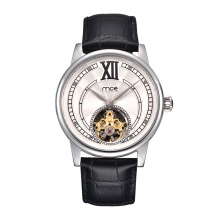 Stainless Steel Automatic Watch Genuine Leather Skeleton Mechanical Watches
