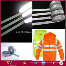 Ruban en tissu reflex haute qualité argenté pour fabriquer des vêtements de sécurité