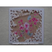 Calidad de arte de papel tarjetas de felicitación con la flor tallada ventana para el Día de la Madre