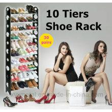 10 niveaux pour 30 paires Chaussures Tubes métalliques Rack en plastique