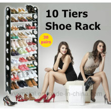 10 Tiers for 30 Pairs Sapatos Metal Pipes Plastic Frame Shoe Racks