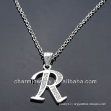 Charm Alphabet Pendant With Clear CZ Stone PCC-006