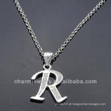 Pingente de alfabeto charme com claro CZ pedra PCC-006