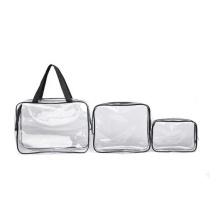 Bolso cosmético del organizador del maquillaje del empaquetado impermeable del PVC del sistema claro de 3 pedazos fijados