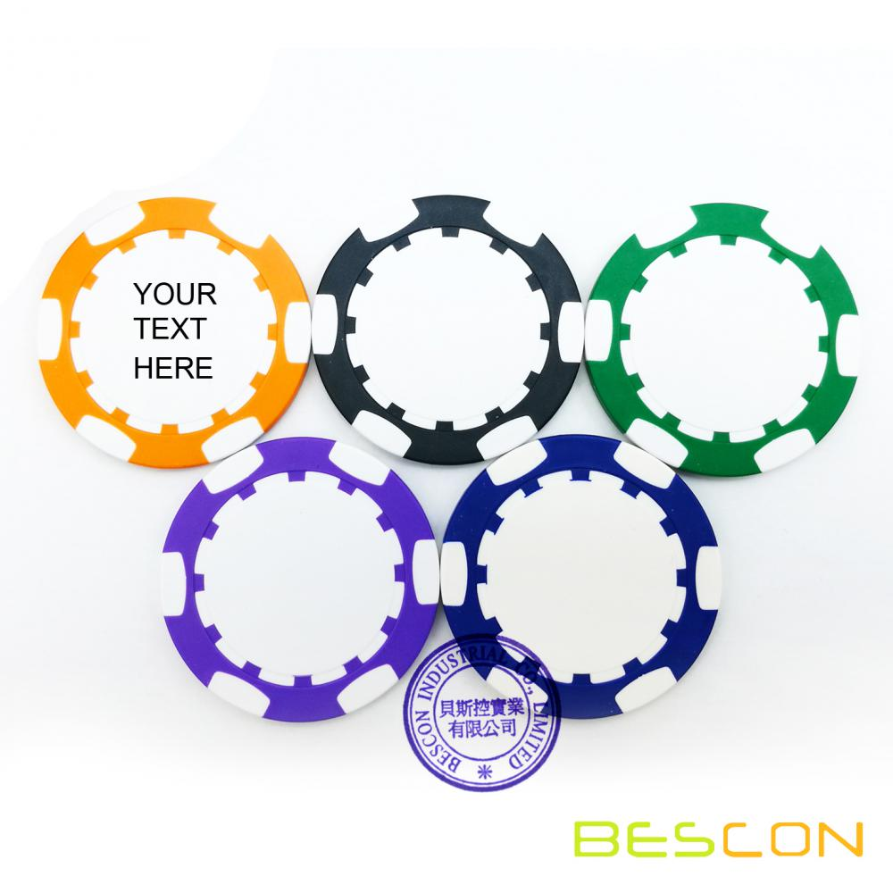 Custom Clay Composite Poker Chips, Imprinted with Your Personalized Text
