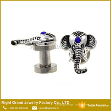 Silver Surgicals steel Crystal Jeweled Elephant Screw-Fit Ear Plugs Gauges