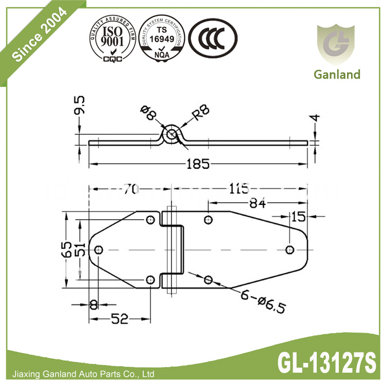 trailer door hinge specification GL-13127Y7