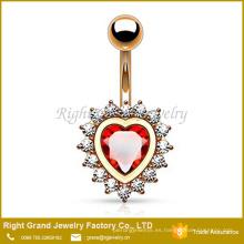 Chapado en oro rosa Gran corazón rojo CZ Cristal transparente en las llantas Anillo del ombligo vientre