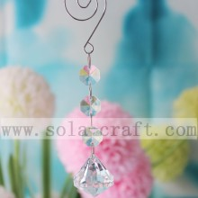 Clear Octagon Beads Crystal Chandelier Lamp Prisms Ornament 14CM