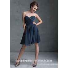 HB2004 quente de cristal de venda com contas de decote querido, comprimento de joelho sem alças, barato, sexy, zíper, chiffon, vestidos de dama de honra
