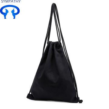 Custom pure color canvas backpack cotton linen bag