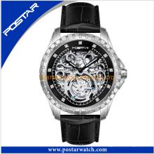 Reloj automático redondo de la correa de cuero genuino del dial para el hombre