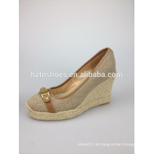 Wedge Sandale neue 2014 Sommer Frauen echtes Leder Schuh Hausschuhe Frau Sandalen Kristall Dekoration Kausale Schuhe