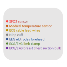 ecg cable leadwires, eeg sensor, spo2 sensor