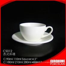 Vaisselle en céramique continental empilable blanche tasses à thé et soucoupes