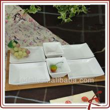 New White cerâmica porcelana talheres prato com bambu