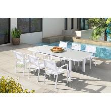 Mobília do pátio ao ar livre mesa de 7 peças e cadeiras