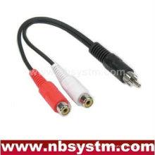 RCA plug macho para 2 cabos RCA fêmea Y divisor de cabo