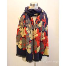 Lady Fashion Viscose Woven Jacquard Fringed Shawl (YKY4413)