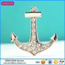 Pendentif en alliage de métal avec pierres précieuses, pendentif ancre en argent pour marin #13417