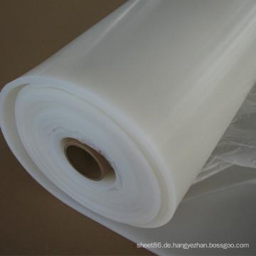 Hitzebeständigkeit Max 240 C Transparente weiße Silikonkautschukfolie