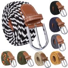 Unisex Men Women Silver Buckle Braided Belt Elastic Stretchy Waist Belt CC0106