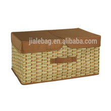 Large capacity foldable polyester fabric storage box for home storage