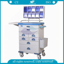 Hospital powder coating steel mobile anesthesia equipment trolley cart