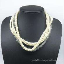 Стеклянный жемчуг стеклянный бисер ожерелье шесть рулонов (XJW13781)