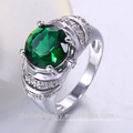 jewelry zhefan manufacturer supplier green cubic zircon ring with best quality and low price