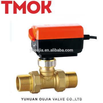 Top External thread Double live brass color Electric globe valve